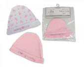 Blue -pink embroidered baby  boy-girl beanie hats newborn